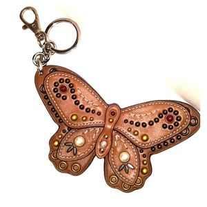 4feed1b6267d ... HUGE Coach Western Studded Leather Butterfly Fob ...